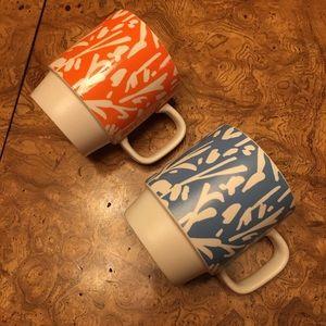 2 Starbucks 2016 Mugs Orange & Teal Blue